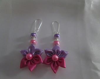 Satin purple, Fuchsia earrings