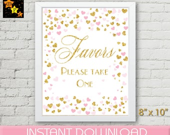 Favors Please Take One Sign, Pink and Gold Confetti Hearts, Decor Printable, Bridal Shower Decoration , Wedding Shower, Baby Shower, DIY