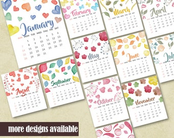 Printable Wall 2018 Calendar With Hand Painted Watercolor Design Housewarming Calendar Printable Office Monthly Calendar Instant Download