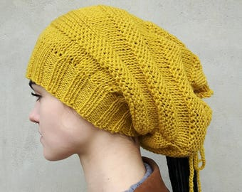 Mustard dreadlock hat, Mustard Hat, Rasta Hat, Dreadlock Headband, Dreadlock tube, Dread Wrap, Slouchy Hat, Knit neckwarmer, Ready to ship