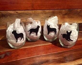Blue Heeler Wine Glass Set | Stemless Wine Glass | Personalized Glass | Gift for Her | Catahoula | Australian Cattle Dog Wine Glass