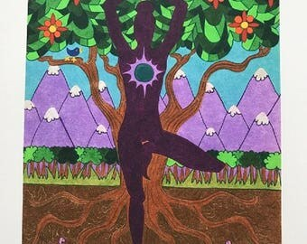Baum-Pose-Kunstdruck
