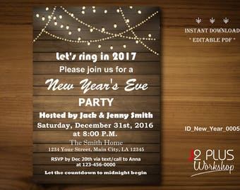 INSTANT DOWNLOAD - New Years Eve Invitation, New Years Eve Party Invitations, New Year Invitation, New Year's Eve Invites, DIY Editable pdf