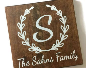 family name wood sign - family wood sign - family sign - hand painted - family decor - monogram gift - personalized gift - wedding gift