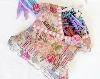 Floral dress peg bag with hanger, handmade fancy peg bag, Peg Bag, hanging laundry peg bag, hanging peg bag,heavy cotton floral peg bag,Pegs
