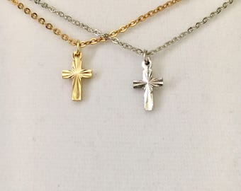 "Infant's Baptism Cross, child's cross, diamond cut Karatclad or Rhodium plated cross, small dainty 1/2"" cross w/14"" chain"