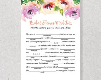 30% Off Watercolor Floral Bridal Shower Mad Libs, Advice for Bride to Be, Purple & Peach Bridal Mad Lib - SKUHDG22