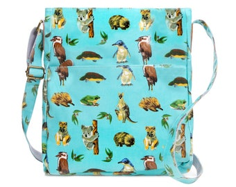 SALE! Crossbody University laptop Bag- Australia animal Koala- Oilcloth computer school Work messenger bag- Ladies college bag - Laminated