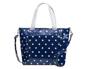 SALE! Oilcloth College computer bag- Polka dot Crossbody bag- Oilcloth ladies purse- Teen girl laptop computer bag Oil cloth waterproof Tote