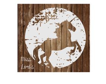 Unicorn Moon shadow  distressed  SVG   cut file  t-shirts  animals Rusticscrapbook vinyl decal wood sign t shirt cricut cameo