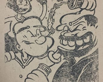 Popeye and Bluto drinking beer linoleum block print signed by the artist Olive Oyl Charles State