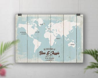 Beachwood effect map, Travel Map Personalised, Places We've Been Map, Bucket List Map, Hipster Travel Map, Rustic World Map, Guestbook Map