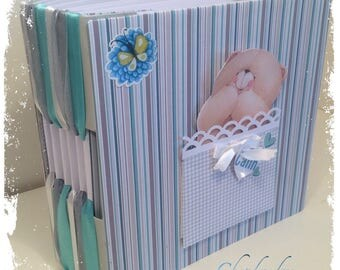"""Book or photo album for baby with binding very gold original ribbons """"hug"""""""