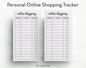 Online Shopping, Personal Inserts, Shopping Tracker, Printable Planner, Personal Planner, Online Purchases, Online Orders, Personal Filofax