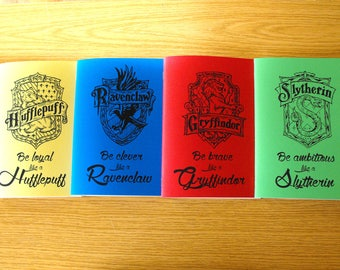 Hogwarts houses notebooks: Ravenclaw, Gryffindor, Hufflepuff & Slytherin. Gift for harry potter fan Harry potter stationary Hogwarts journal