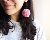 Pom-Pom Earrings - Blush Pink
