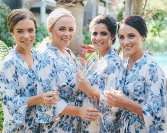 Blue White floral robe / Bridesmaids Robes / Dressing gown / Bridal Robe / Lingerie / Gown / Getting ready / Kimono / pyjamas / honeymoon