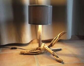 Driftwood lamp. Grey shade. Bedside lamp. Extra lighting.
