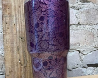 Paisley Sugar Skull Tumbler - 30 oz. RTIC - Glitter - Birthday Gift for Mom Sister Daughter