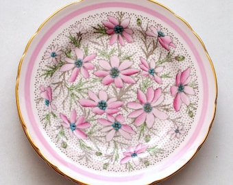 Vintage Tuscan Fine English Bone China Pink Floral Dessert Plates, Set of 4, Valentine's Day Gift