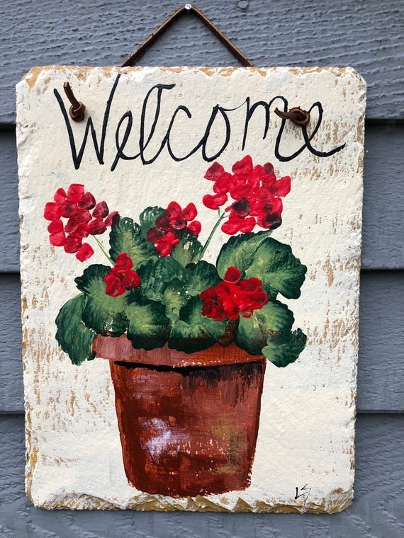 Spring door decoration, Spring door hanger, Red Geraniums, Slate welcome sign, Spring Welcome plaque, Geraniums, Outdoor spring decorations,