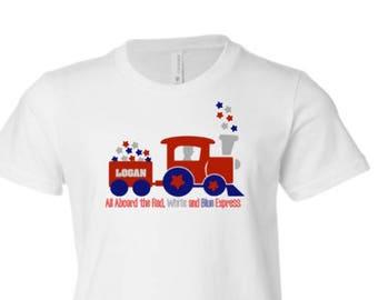 Boys Fourth of July Shirt, Boys Train Shirt, Toddler 4th of July Shirt, Toddler Patriotic Tee, Boys 4th of July Shirt, Kid 4th of July Shirt