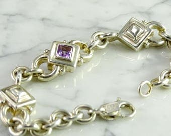 "Sterling Bracelet with Purple Stone (7.5"")"