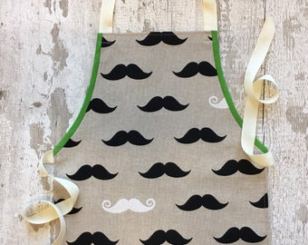 Fun Child Toddler Kids Handmade Apron in Funky Moustaches Fabric
