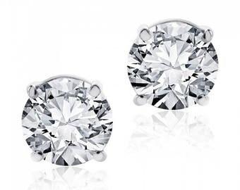 1.08 cttw Round Brilliant Diamond Screw Back Studs F-G/VS2 14K White Gold