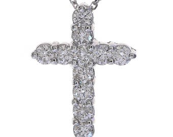 "0.90 Carat Round Diamond Cross on 16"" Cable Chain 14K White Gold"