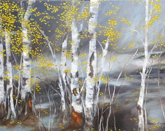 "Original hand painted oil painting - Birchtree's Rhapsody- made by Sarmite Alksne size 20""x 28"""