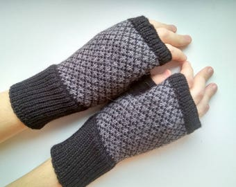 Mens Fingerless Gloves Grey Mens Gloves Knit Gloves Mens Hand Warmers Mens Warmers Mens Arm Mittens, Arm Warmers, READY TO SHIP