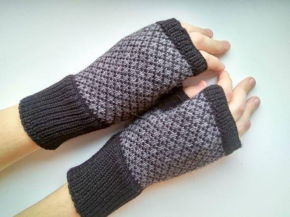 Mens Fingerless Gloves Grey Mens Gloves Knit Gloves Mens Hand