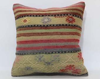 Decorative Kilim Pillow Sofa Pillow 20x20 Naturel Kilim Pillow Throw Pillow Floor Kilim Pillow Bed Pillow Cushion Cover  SP5050-1999