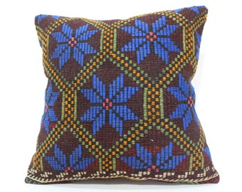 Embroidered Kilim Pillow Sofa Pillow Chic Pillow 24x24 Flower Blue Patterned Kilim Pillow Ethnic Pillow Cushion Cover  SP6060-1329