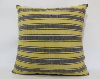 Yellow Kilim Pillow Striped Kilim Pillow Sofa Pillow 24x24 Handwoven Kilim Pillow Throw Pillow Cushion Cover  SP6060-1382