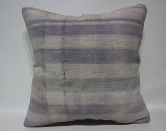 Striped Kilim Pillow 20x20 Kilim Pillow Anatolian Kilim Pillow Turkish Kilim Pillow Handamde Pillow Decorative Kilim Pillow SP5050-2503