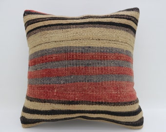 Handwoven Kilim Pillow Cover 20x20 Muted Colors Turkish Kilim Pillow 20x20 Cushion Cover Kilim Cushions Kelim Kissen Red Black SP5050-2634