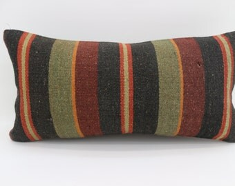 Striped  Kilim Pillow 12x24 Multicolor Kilim Pillow 12x24 Lumbar Pillow Red  and Yellow  Kilim Pillow Throw Pillow Cushion Cover SP3060-1768