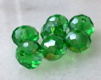 100 beads green AB clear Czech glass faceted 6x5mm