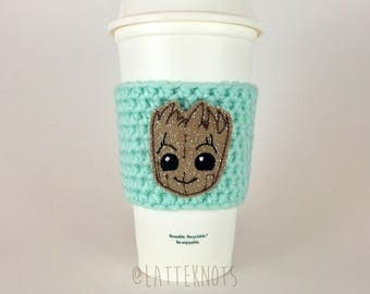 Baby Groot Coffee Cup Cozy / Crochet Coffee Sleeve / Reusable Cozie / Customizable