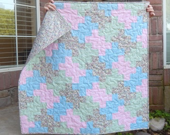 Baby Girl Quilt, Crib Quilt, Pink Gray Blue Mint Quilt, Nursery Decor, Baby Blanket, Modern Baby Quilt