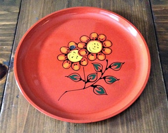 Retro Orange Laquer Flower Mod Plate Platter Round Party Serving Wall Decor Perfume Drink Beverage Food Waitress Daisy Yellow Orange Prop