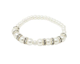 Crystal and Pearl Bracelet, Ivory, Pearl Bracelet, Stretch