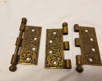 Lot of 3 hinges fancy only one side 4 x 1 3/4""