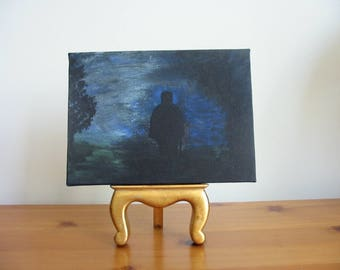 Original Painting of Barnabas Collins from Dark Shadows. Miniature canvas, acrylics. Vampire art.