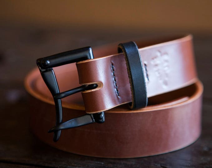 "1.5"" Hazel Sedgwick Bridle Quick Release Belt with Brass Hardware and Burnished Black Bridle Keeper *Limited Stock!"