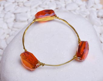 Hand Crafted Crystal Rhinestone Copper Wire Women's Bracelet - Gift Idea Jewelry