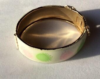 Vintage Enamel Cuff Bracelet with Safety Chain