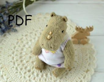 Pattern Teddy Rhino, teddy Rhino 15 cm, sewing tutorial,pattern teddy, pattern toy, Artist Teddy Bear
